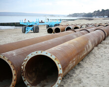 Huge Metal Pipes On Bournemouth Beach In The UK