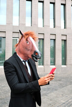 Anonymous Male Entrepreneur Wearing Rubber Horse Mask And Formal Suit Standing On Street In City And Surfing Internet On Smartphone