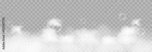 Fototapeta Vector foam with bubbles. Soap bubbles png, foam png, soap, shampoo. Bath foam on isolated transparent background. obraz