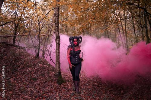 Photographie Sexy Teufelin steht im Wald