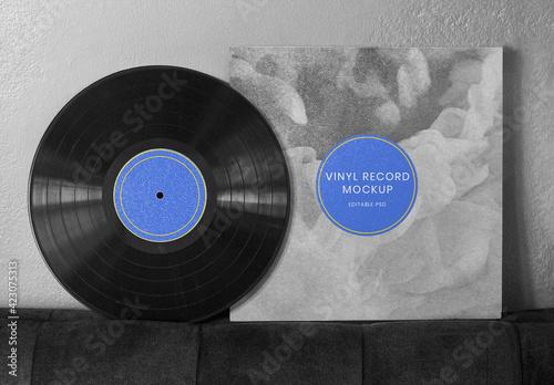 Obraz Retro Black Vinyl Cover Mockup - fototapety do salonu