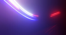 Motion Blur Effect Background. Abstract Blue And Red Light Trails On Black
