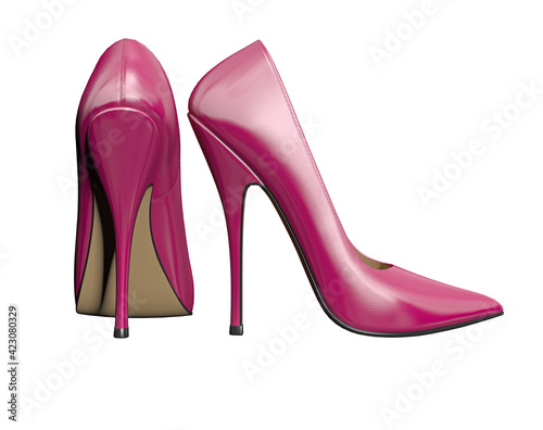 Tablou Canvas pink high heels shoes