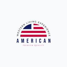 Vector Illustration Of American Flag Logo Design