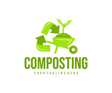 Composting, Recycling, Wheelbarrow With Soil And Sprout, Logo Design. Agriculture, Farming, Compost And composted Soil Cycle, Vector Design And Illustration