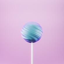 Blue Lollipop Sweet Candy On Stick, Pastel Pink Background, 3d Rendering
