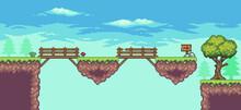 Pixel Art Arcade Game Scene With Floating Platform, Bridge, Trees, Clouds,  And Flag 8bit. PART 10