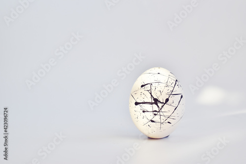 Fototapeta One white speckled egg on a white background. Easter. Minimalism, copy space, blank space for text. Solar natural light. copy space obraz