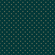 Golden Vector Seamless Pattern With Small Stars, Diamond Shapes, Dots. Abstract Minimal Gold And Dark Green Geometric Texture. Simple Minimalist Background. Luxury Repeat Design For Decor, Wallpaper
