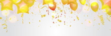 Glossy Gold Flying Helium Balloons Backdrop With Effect. Wedding, Birthday And Anniversary