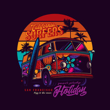 Original Vector Illustration In Neon Style. An Old Tourist Van Painted With Flowers On A Background Of Palm Trees And A Retro Sunset.