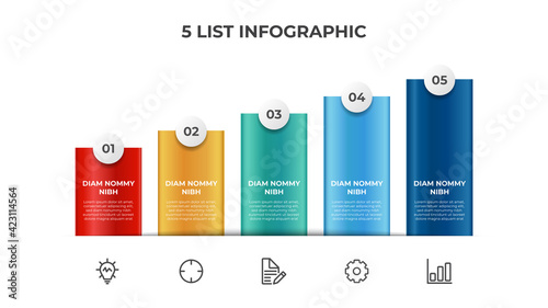 Fotografia Ascending block list with 5 points, infographic element template with steps diag