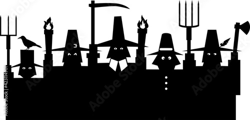 Slika na platnu Black silhouette of an angry mob, group of pilgrims with pitchforks and torches,
