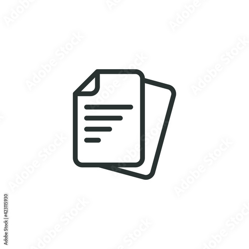 Fototapety, obrazy: Document line icon. Simple outline style. Note, information, paper, sheet, pictogram, contract, copy concept. Page file, list text vector illustration isolated for web design. EPS 10.