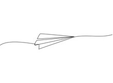 Continuous One Line Drawing Of Paper Airplane Flying On The Sky With White Background. Creative Paper Plane Kids Toy Concept. Trendy Single Line Draw Design Vector Graphic Illustration