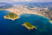 Scenic View From Drone Of Spanish Town Of San Sebastian (Donostia) On Southern Coast Of Bay Of Biscay On Sunny Summer Day, Basque Country..
