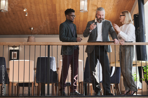 Fotografie, Obraz Mature businessman talking to his team and giving a recommendation before meetin