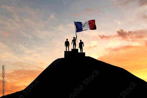 Fototapeta France flag being waved on top of a winners podium. 3D Rendering