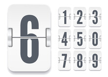 Vector Light Flip Scoreboard Template With Numbers And Shadows For White Countdown Timer Or Calendar Isolated On White Background.
