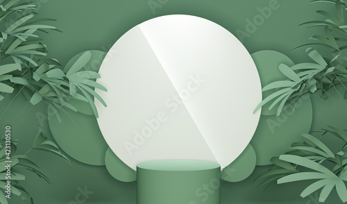 Obraz Minimal scene with podium, tropical palms, leaves and abstract background. Pastel blue and green colors scene. Trendy 3d render for social media banners, promotion, product - fototapety do salonu