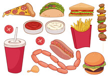 A Collection Of Food Items Such As Pizza, Thick Sausages, Hamburger, Kebab, Sandwich And More. For Restaurants, Menus, Children's Books, Can Be Used As Stickers