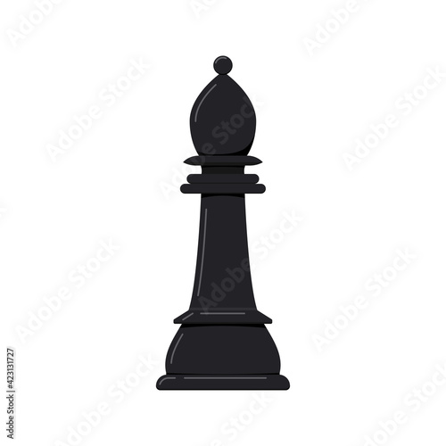 Fototapeta Bishop chess piece vector icon isolated on white background