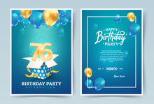 76th Years Birthday Vector Invitation Double Card. Seventy Six Years Wedding Anniversary Celebration Brochure. Template Of Invitational For Print On Blue Background
