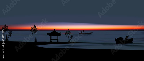 Colorful Asian sunset Balinese landmarks panoramic view, vector illustration of Bali water temple
