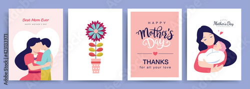 Fotografia Set of Happy Mother's Day greeting cards