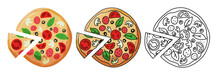 Pizza Vector Set On White Background. Pizza Set Design Image. Colored And Uncolored. Pizza With Tomato, Cheese, Olive, Sausage, Basil. Traditional Italian Food. Top View. European Snack. Isolated
