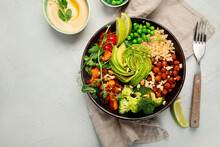 Buddha Bowl Of Mixed Grilled Vegetables On Light Background. Healthy Eating Concept.