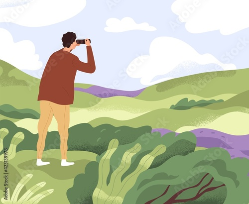 Obraz Man with binoculars looking forward in future. Concept of discovering new horizons, finding solutions, searching and exploring opportunities. Colored flat vector illustration of explorer in nature - fototapety do salonu