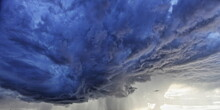 Heavy Stormy Dark Blue Rain Thunder Cloud On A Summer Evening, Beautiful Natural Cloudscape