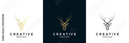Foto Deer antler logo and icon design vector.