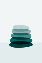 Meditation Flat. Poster With Ovale Stones Minimalist Style Overlay. Vector Illustration. Abstract Shape Rocks Background. Stacked Pebbles Color Drawing. Cool Print Tshirt Design. Balance Zen Concept