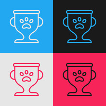 Pop Art Line Pet Award Symbol Icon Isolated On Color Background. Medal With Dog Footprint As Pets Exhibition Winner Concept. Vector