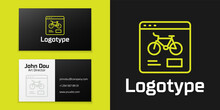 Logotype Line Bicycle Rental Mobile App Icon Isolated On Black Background. Smart Service For Rent Bicycles In The City. Mobile App For Sharing System. Logo Design Template Element. Vector
