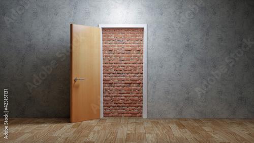A brick wall blocking the doorway, hopeless concept Fototapet