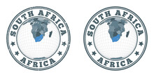 South Africa Round Logos. Circular Badges Of Country With Map Of South Africa In World Context. Plain And Textured Country Stamps. Vector Illustration.