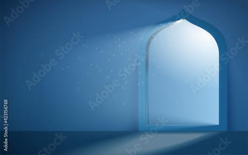Obraz 3d serene Islam mosque portal - fototapety do salonu
