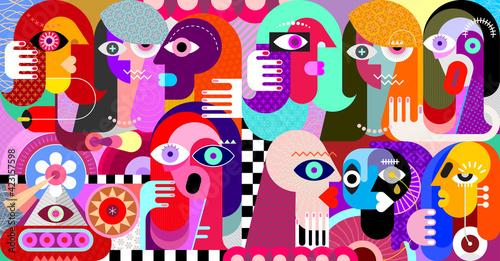 Digital painting of a large group of strange people Fotobehang