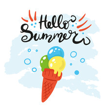 Vector Illustration With An Ice Cream Cone, Phrase Caption. Enjoy The Little Things. Colorful Summer Printing Poster With Sweet Delicious Food. Hello Summer. Cartoon