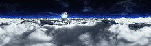 Clouds And The Moon, Night Cloudy Landscape, The Moon Above The Clouds