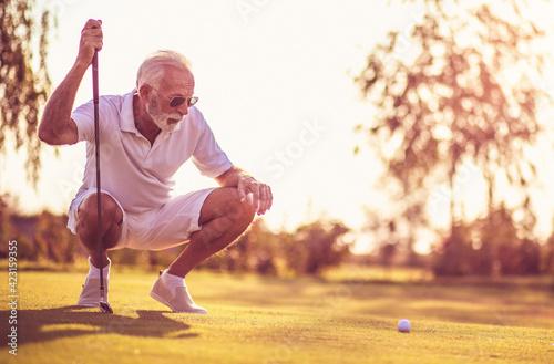Fototapeta Senior man playing golf. obraz