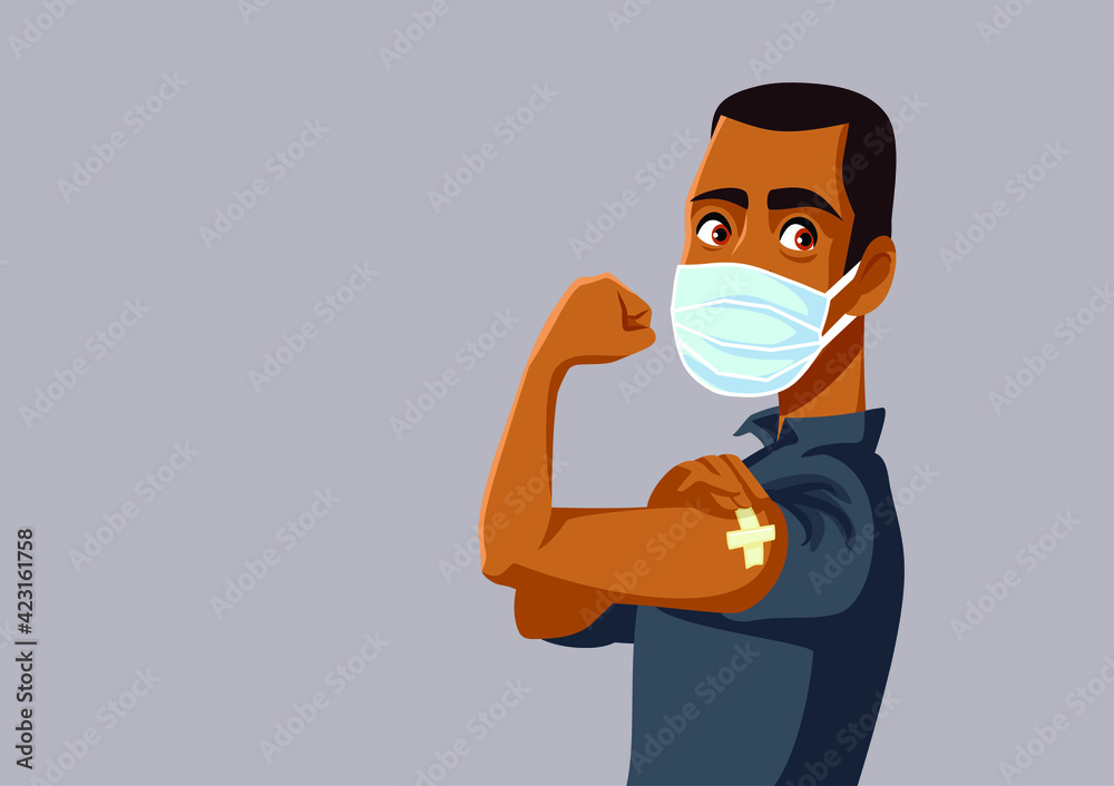 Fototapeta African Man Showing Vaccinated Arm