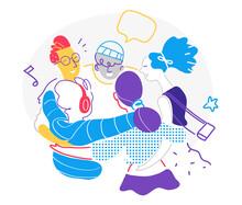 Gruppo Di Giovani Ragazzi Felici E Contenti. Amici Che Festeggiano Un Evento E Si Divertono Ascoltando La Musica