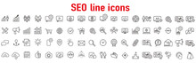 Website Stats, Target And Increase Sales Signs. Seo Line Icons. Traffic Management, Social Network And Seo Optimization Icons. Gear Wheel, Search Engine And Increase Mobile Sales. Vector