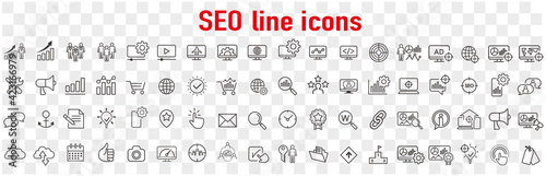 Fototapeta Website stats, Target and Increase sales signs. Seo line icons. Traffic management, social network and seo optimization icons. Gear wheel, Search engine and increase mobile sales. Vector obraz