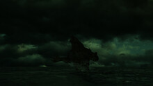 3d Illustration Of A Giant Sea Monster Rising From Out Of The Ocean With A Moody Green Atmosphere