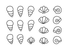 Seashell Doodle Icons Set. Contour Elements, Cartoon Design. Black Hand Drawn Illustration Of Different Ocean Shells. Linear Flat Isolated Vector, White Background